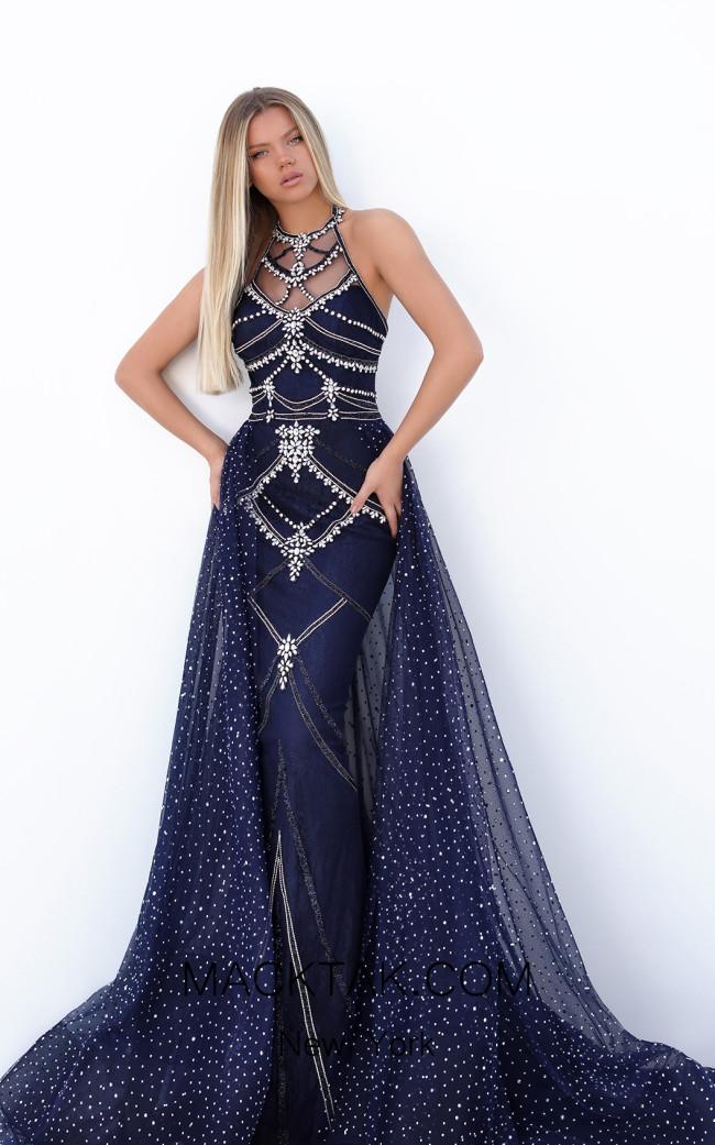 Tarik Ediz 50753 Navy Front Dress
