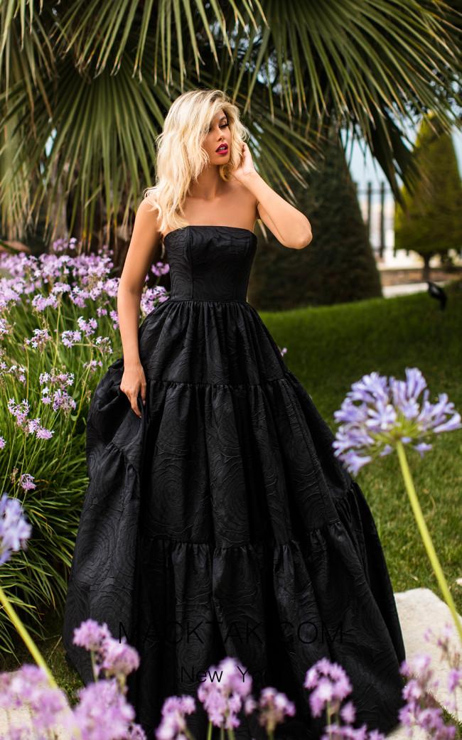 Tarik Ediz 50759 Black Front Dress