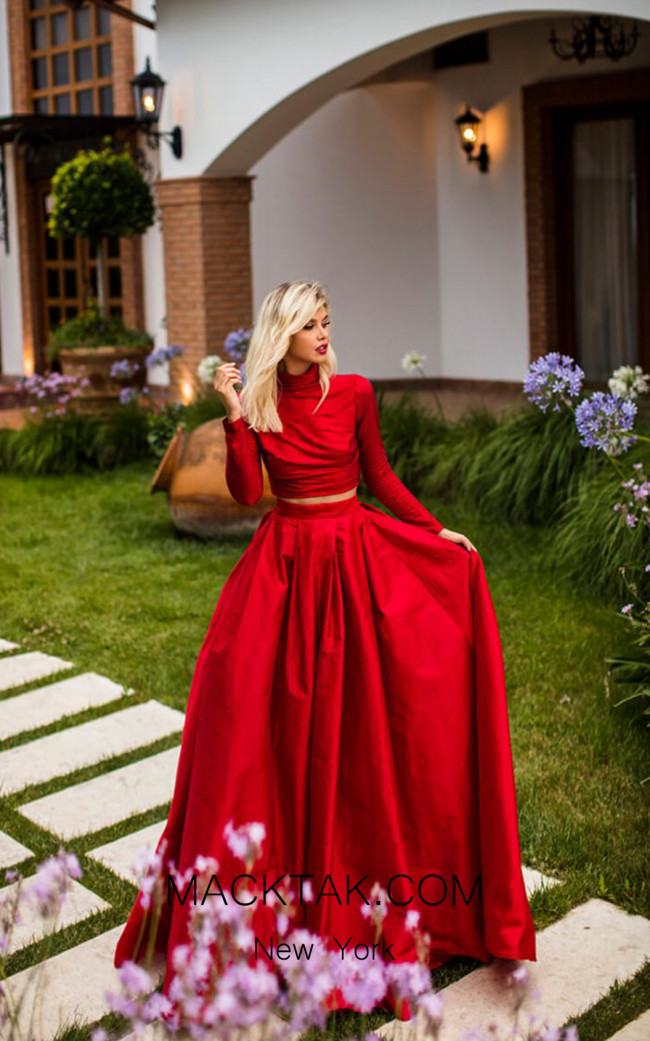 Tarik Ediz 50770 Red Front Dress