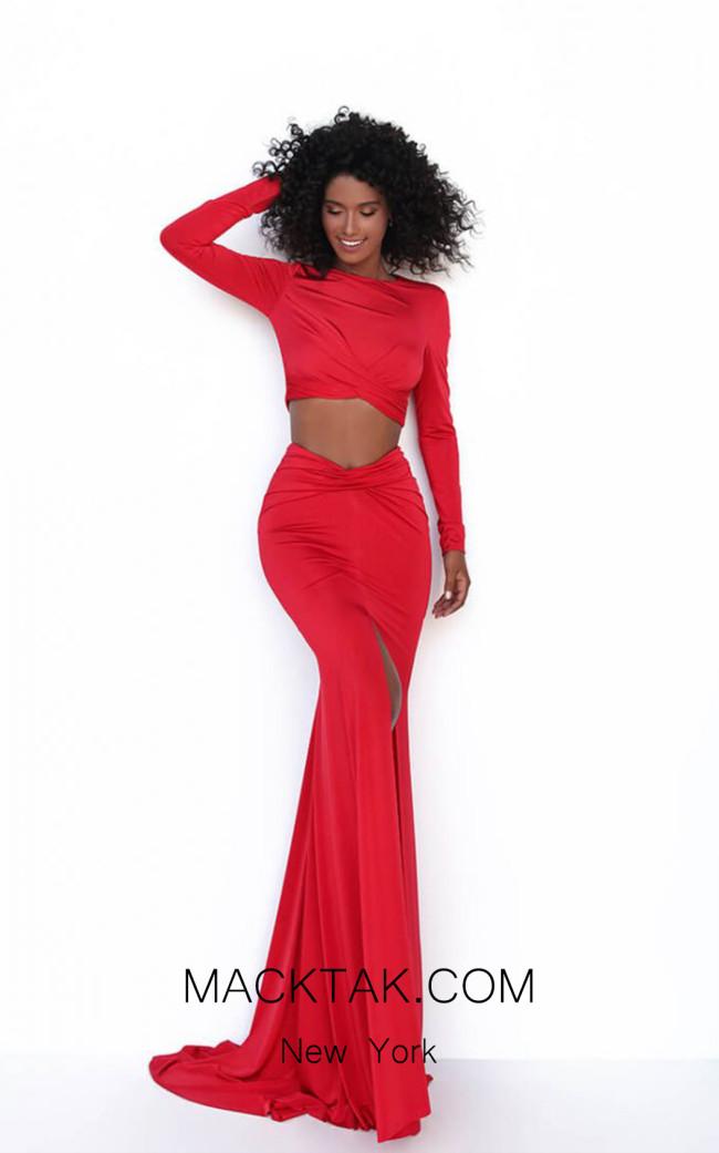 Tarik Ediz 50771 Red Front Dress
