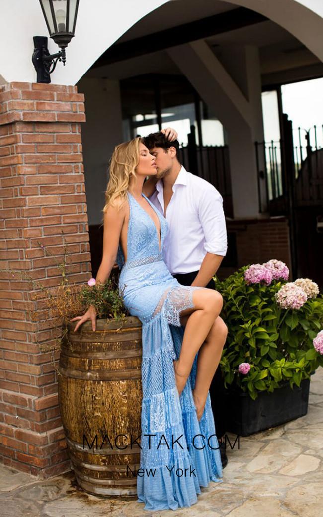 Tarik Ediz 50773 Blue Front Dress