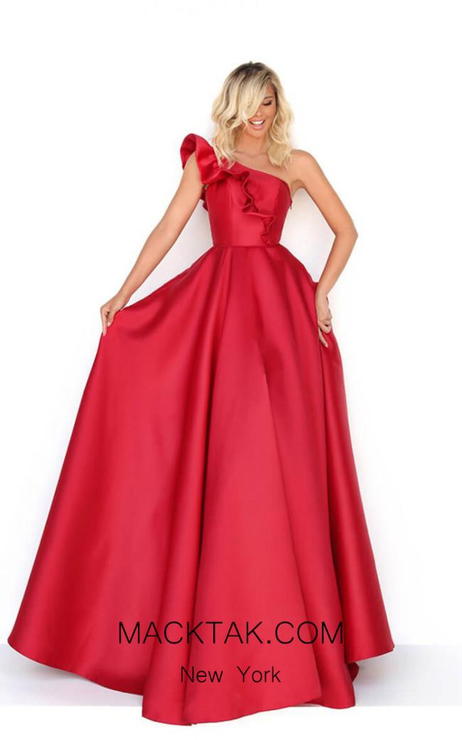 Tarik Ediz 50776 Red Front Dress