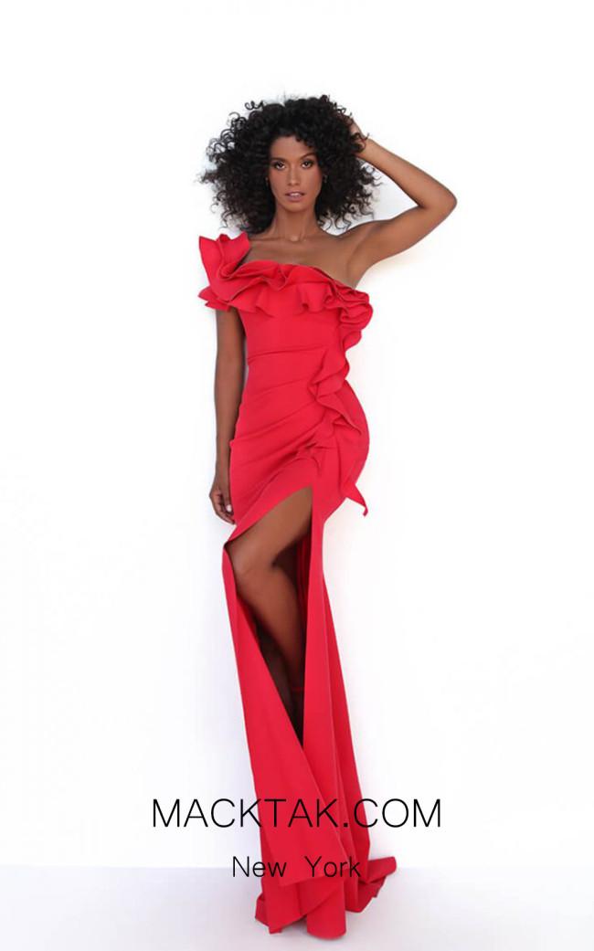 Tarik Ediz 50778 Red Front Dress