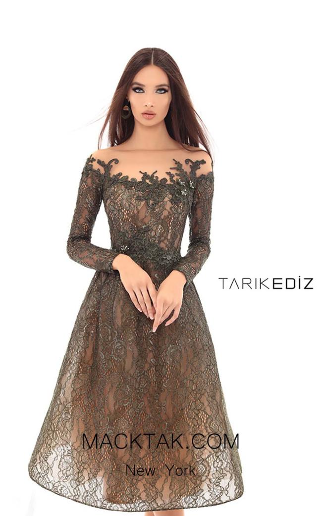 Tarik Ediz 93619 Olive Green Front Dress