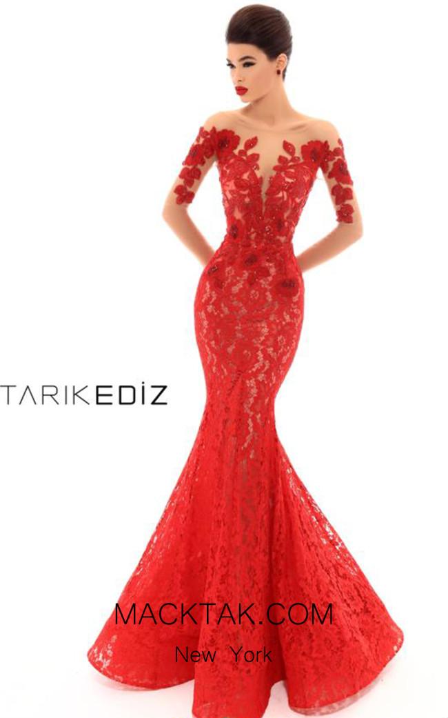 Tarik Ediz 93670 Red Front Dress