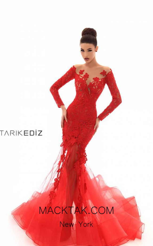 Tarik Ediz 93672 Red Front Dress