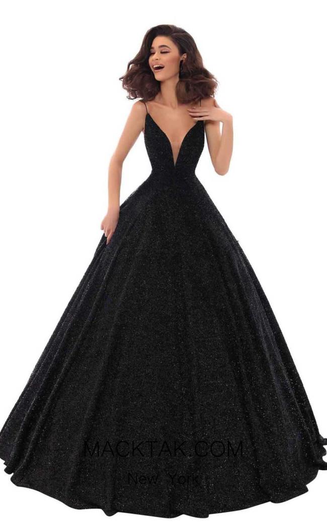 Tarik Ediz 93690 Black Front Dress