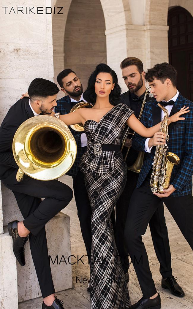 Tarik Ediz 93801 Black Gold Front Evening Dress