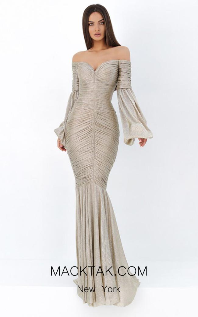 Tarik Ediz 93804 Gunmetal Front Dress