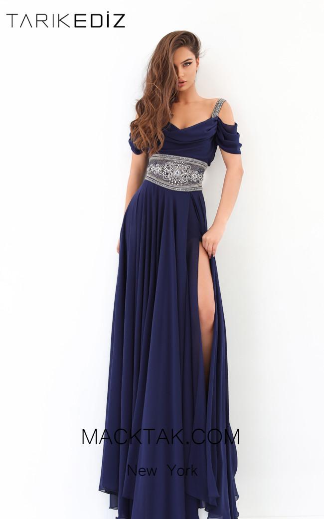 Tarik Ediz 93813 Navy Front Evening Dress