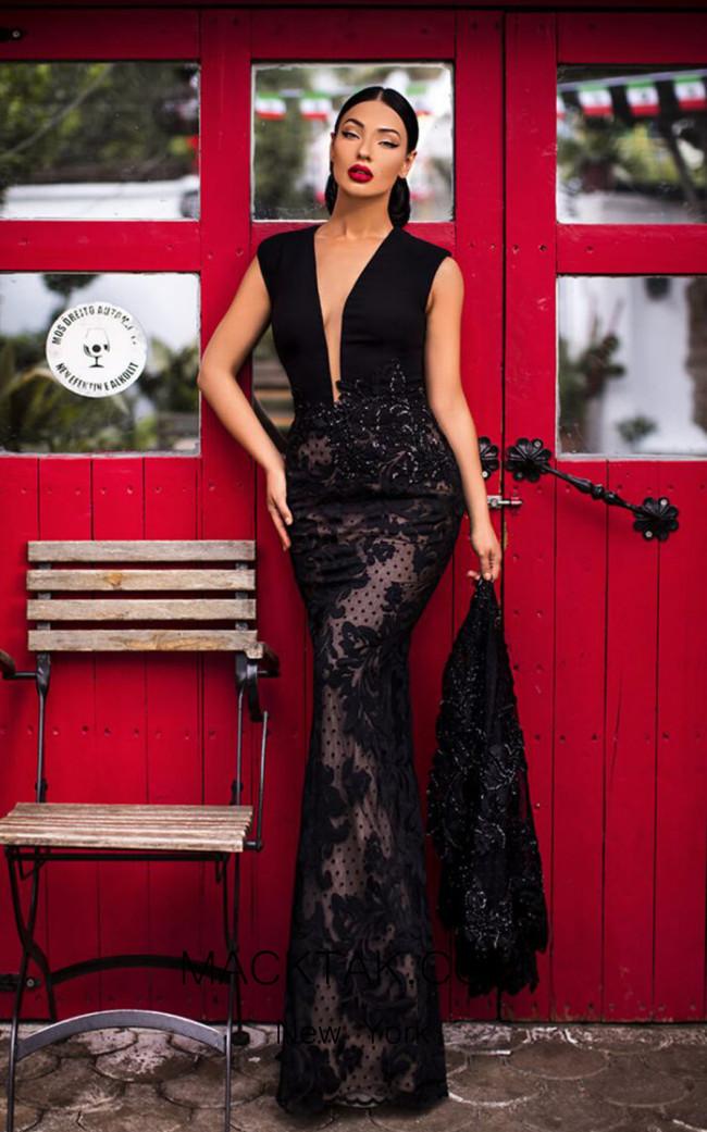Tarik Ediz 93821 Black Front Dress