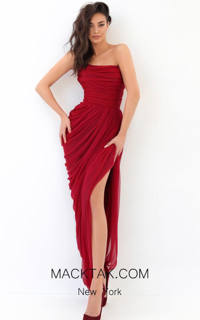 Tarik Ediz 93838 Red Front Dress