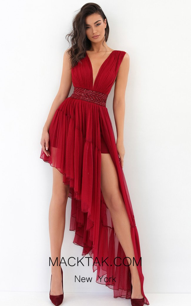 Tarik Ediz 93846 Red Front Dress