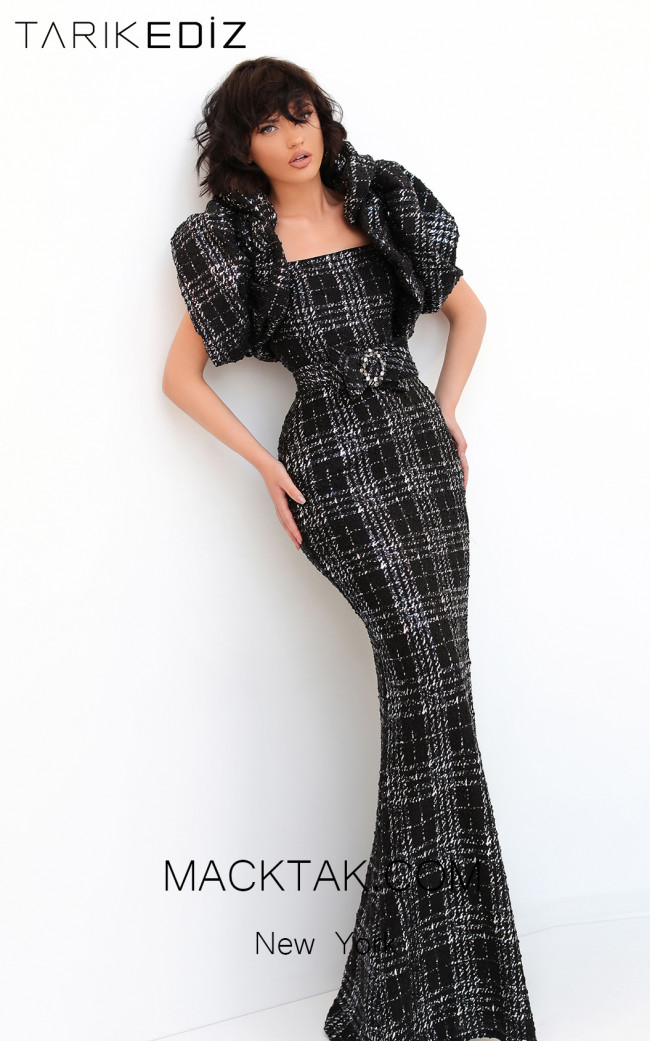 Tarik Ediz 93850 Black Front Evening Dress