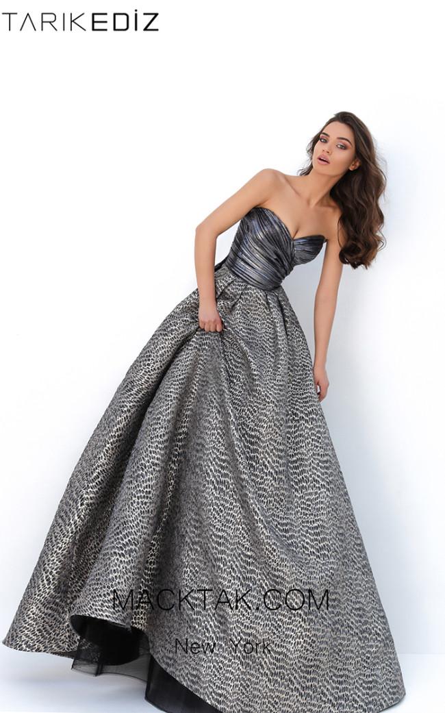 Tarik Ediz 93859 Gray Gold Front Evening Dress