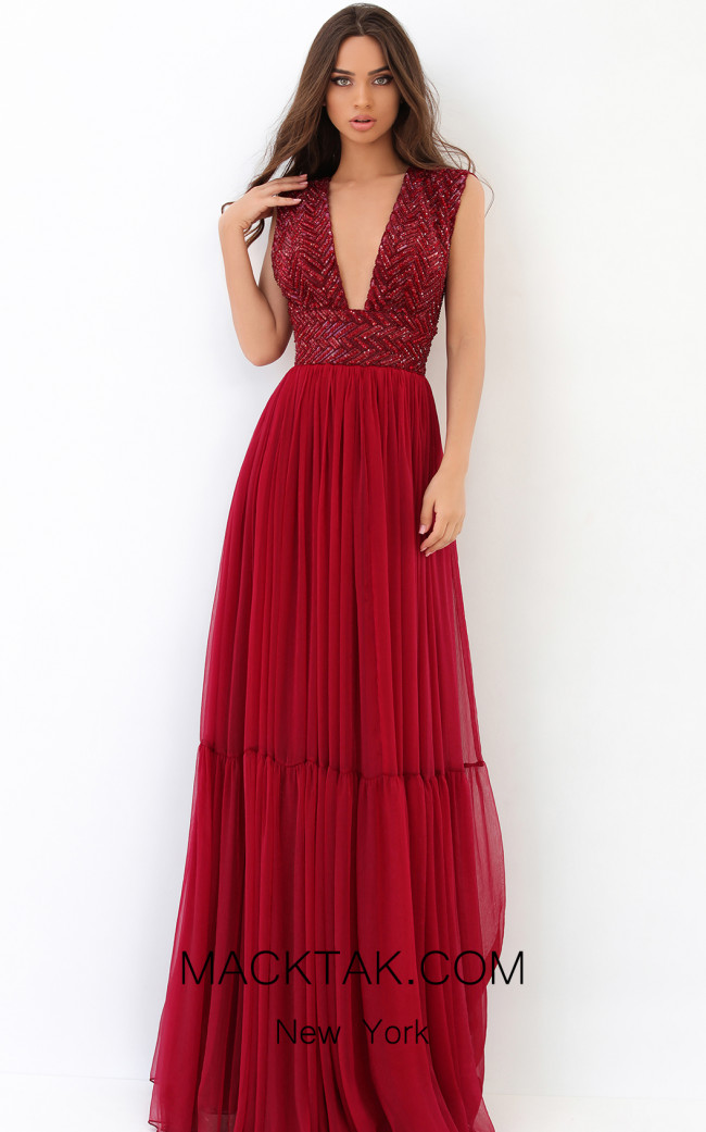 Tarik Ediz 93866 Red Front Dress
