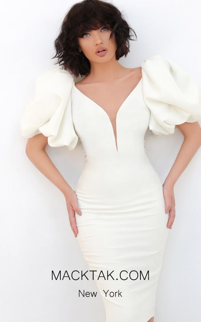 Tarik Ediz 93868 Ivory Front Dress