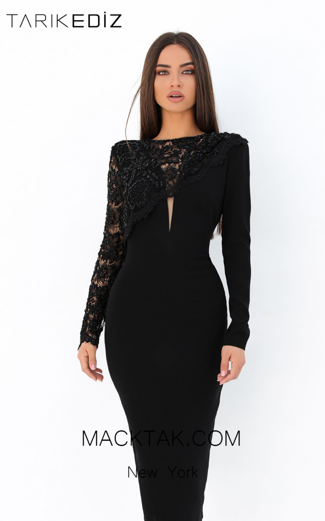 Tarik Ediz 93870 Black Front Evening Dress