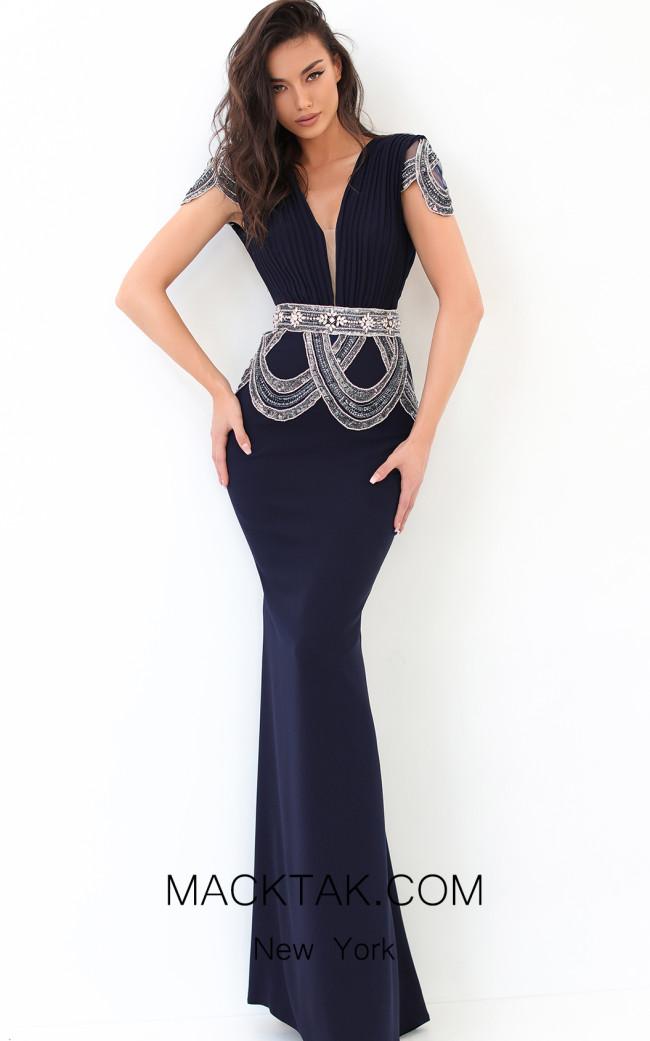 Tarik Ediz 93871 Navy Front Dress
