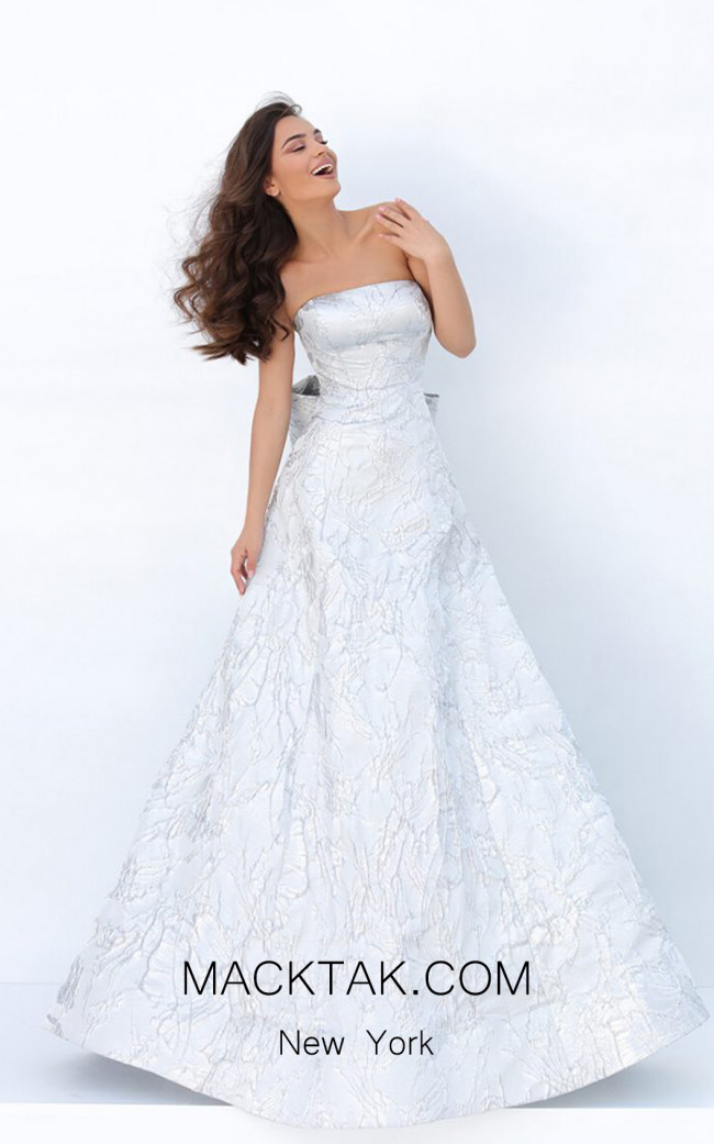 Tarik Ediz 93877 Silver Front Dress