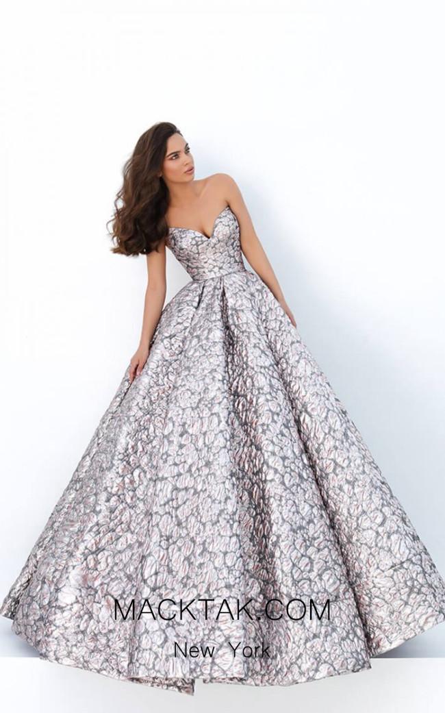 Tarik Ediz 93878 Silver Salmon Front Dress