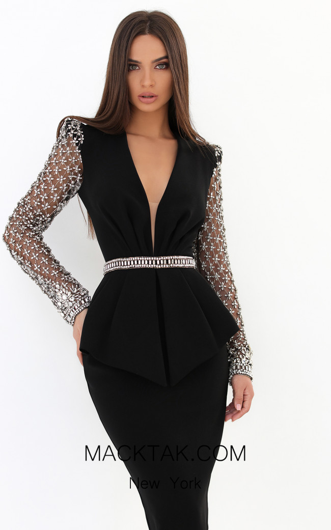 Tarik Ediz 93880 Black Front Dress