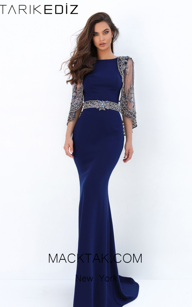 Tarik Ediz 93884 Navy Front Evening Dress