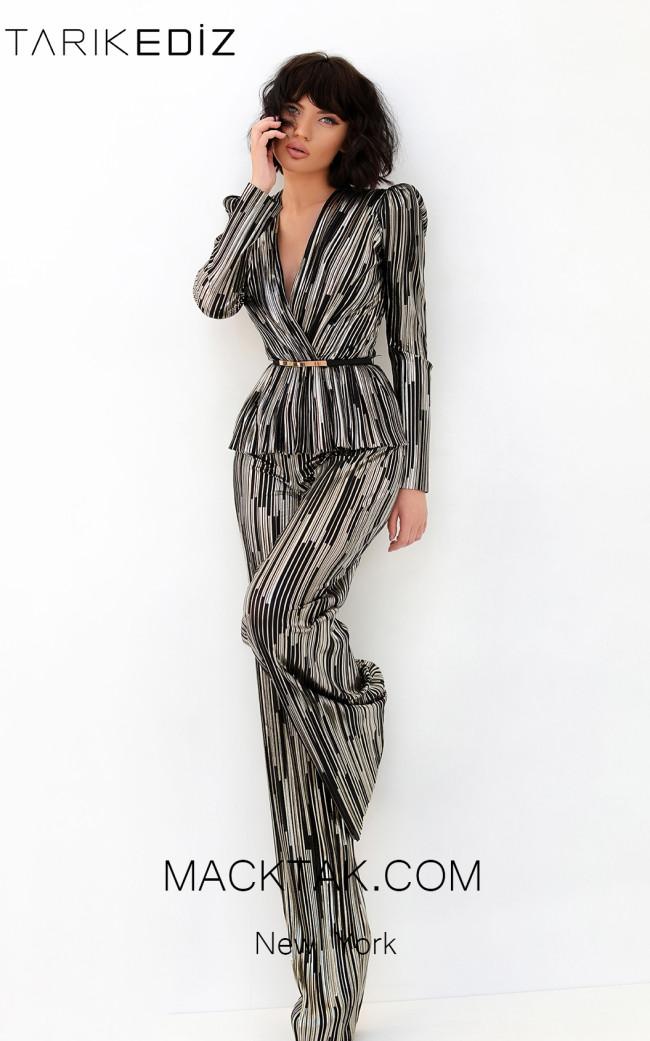 Tarik Ediz 93892 Black Gold Front Evening Dress