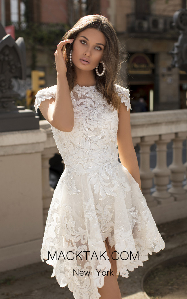 Tarik Ediz 93895 Ivory Front Dress