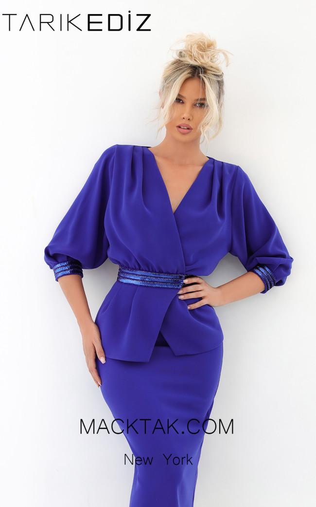 Tarik Ediz 93899 Morcivert Front Evening Dress