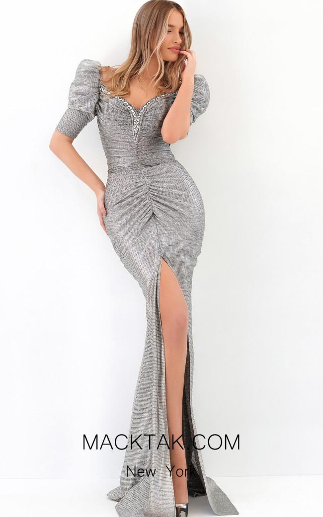 Tarik Ediz 93902 Gunmetal Front Dress
