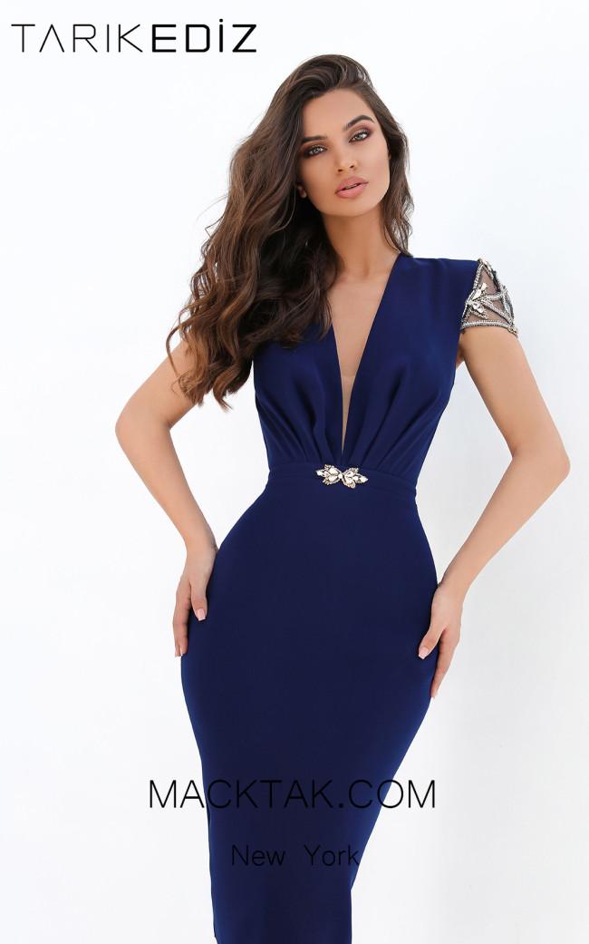 Tarik Ediz 93905 Navy Front Evening Dress