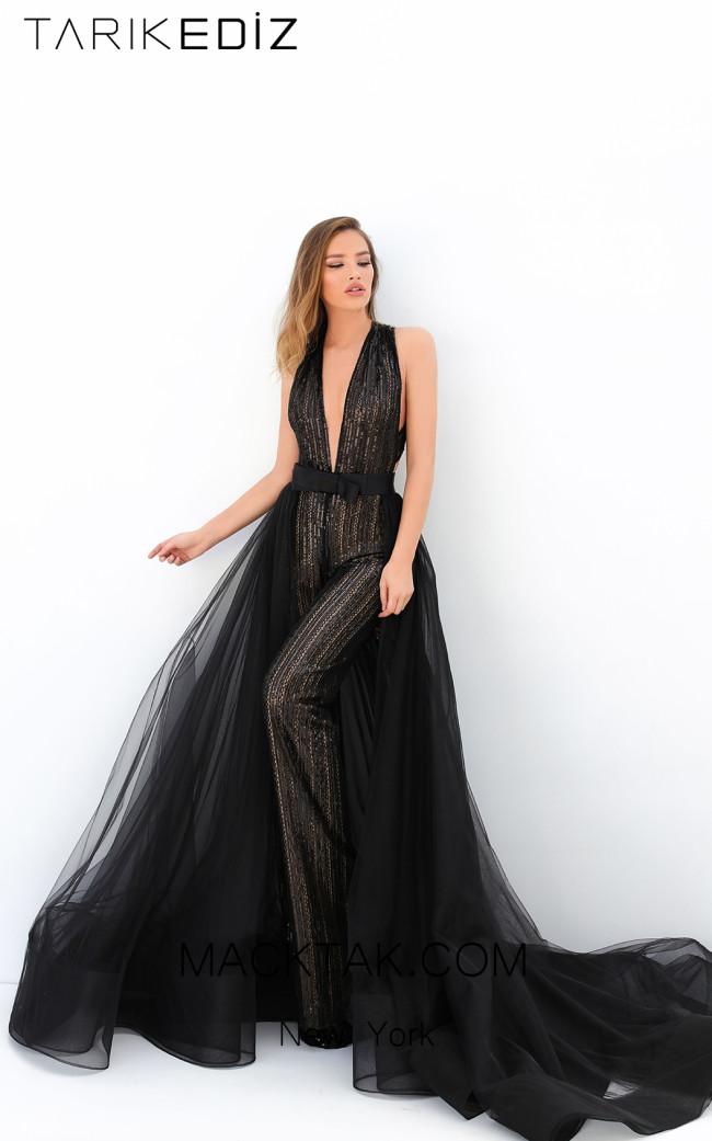 Tarik Ediz 93911 Black Front Evening Dress