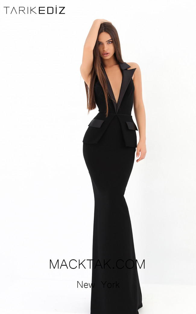 Tarik Ediz 93912 Black Front Evening Dress