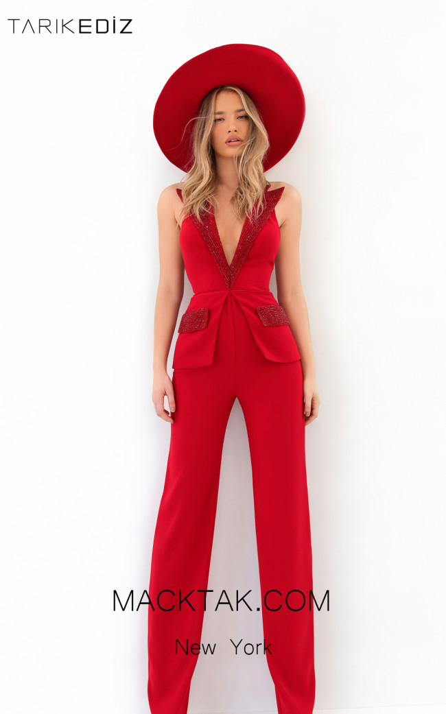 Tarik Ediz 93914 Red Front Evening Dress