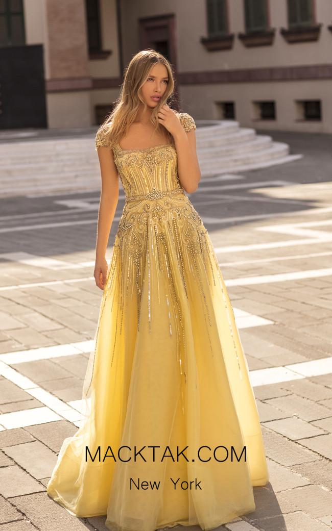 Tarik Ediz 93915 Yellow Front Dress