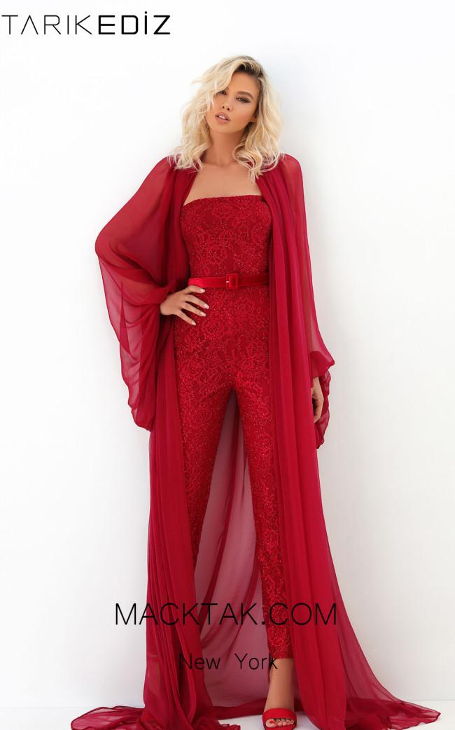 Tarik Ediz 93916 Red Front Evening Dress