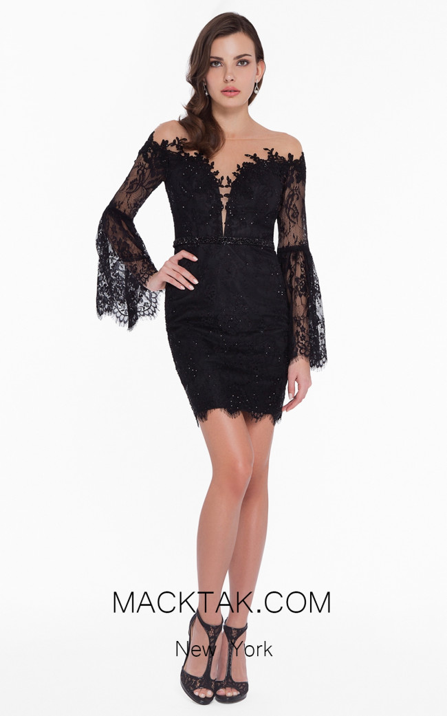 Terani 1825H7936 Black Front Dress