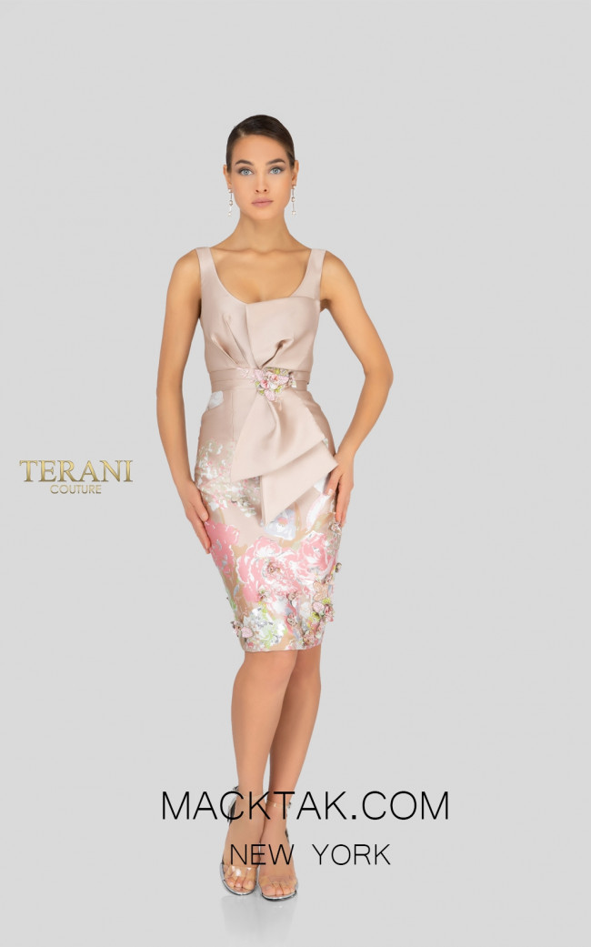 Terani 1911C9006 Champagne Gold Front Cocktail Dress