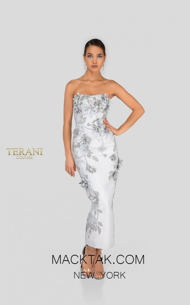 Terani 1911C9012 Silver Taupe Front Cocktail Dress