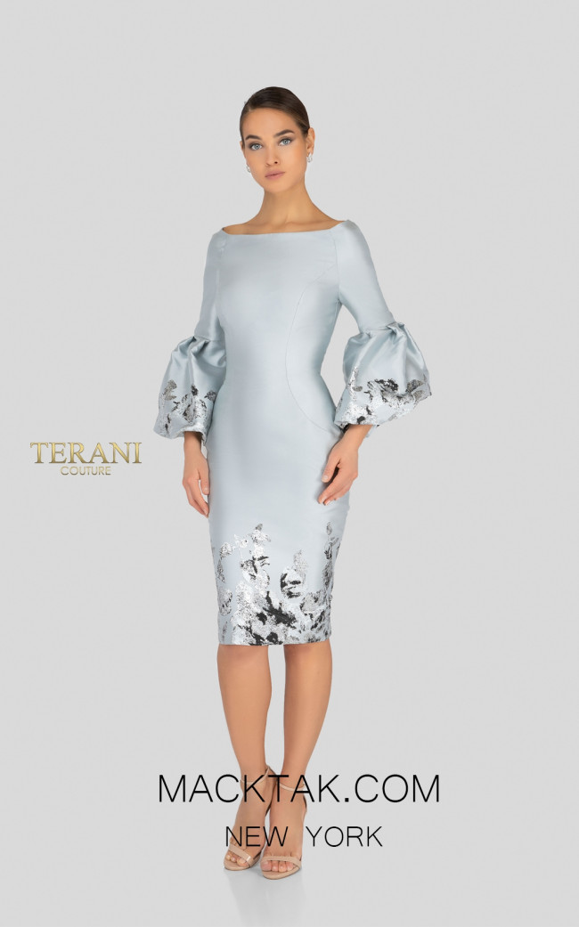 Terani 1911C9016 Silver Gunmetal Front Cocktail Dress