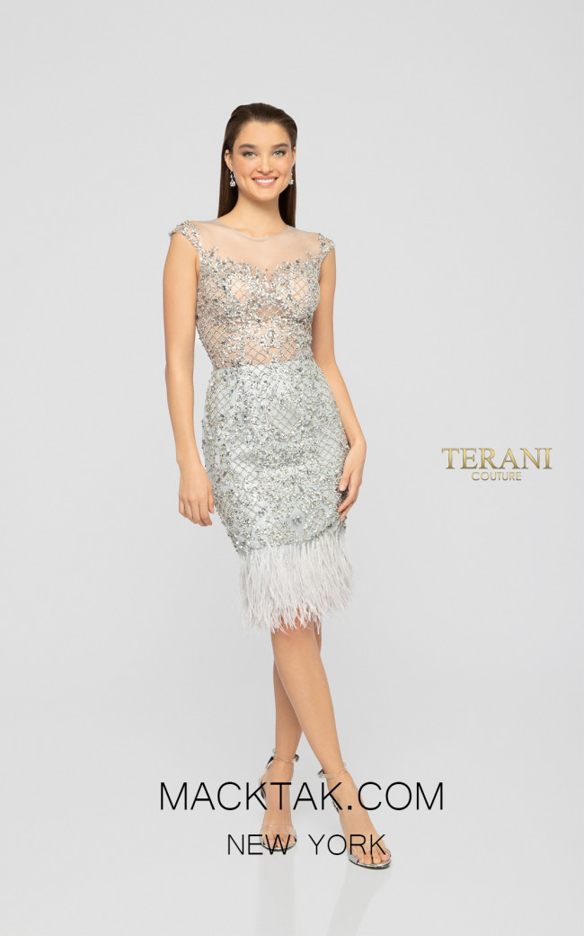 Terani 1911C9024 Silver Nude Front Cocktail Dress