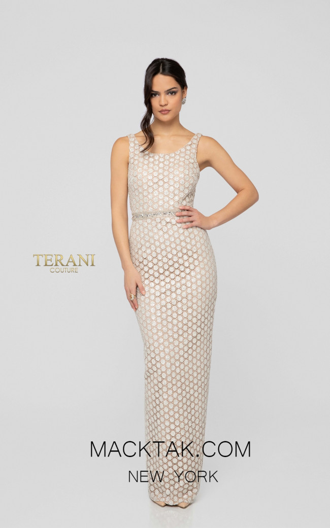 Terani 1911E9087 Ivory Nude Front Evening Dress