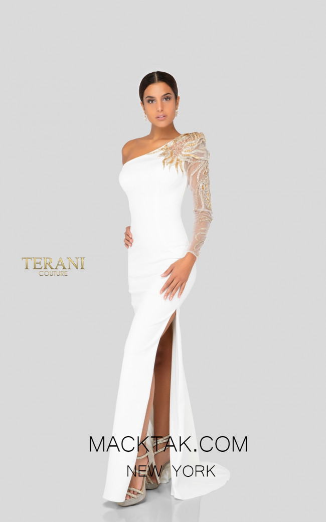 Terani 1911E9094 Ivory Front Evening Dress