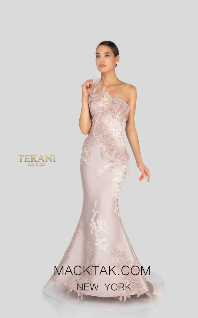 Terani 1911E9095 Champagne Front Evening Dress