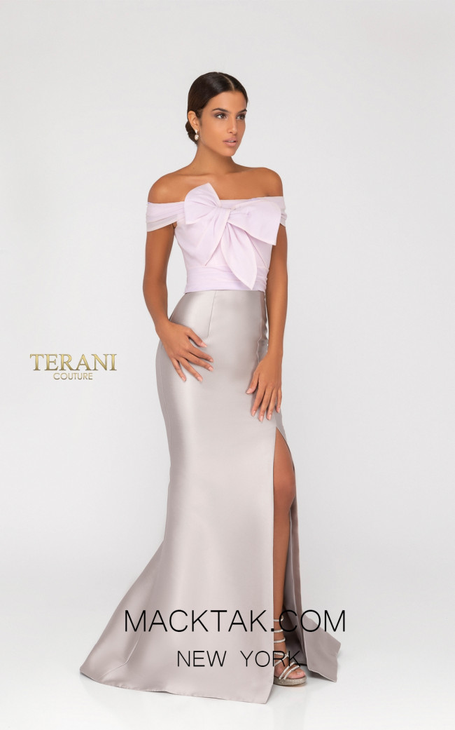 Terani 1911E9104 Taupe Front Evening Dress
