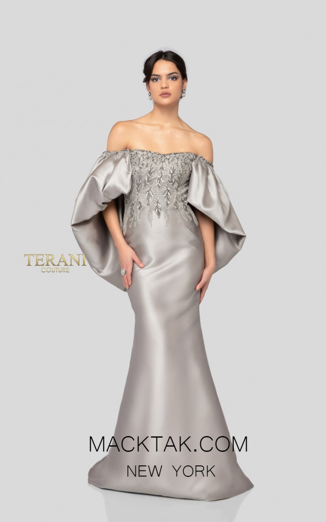 Terani 1911E9110 Taupe Front Evening Dress