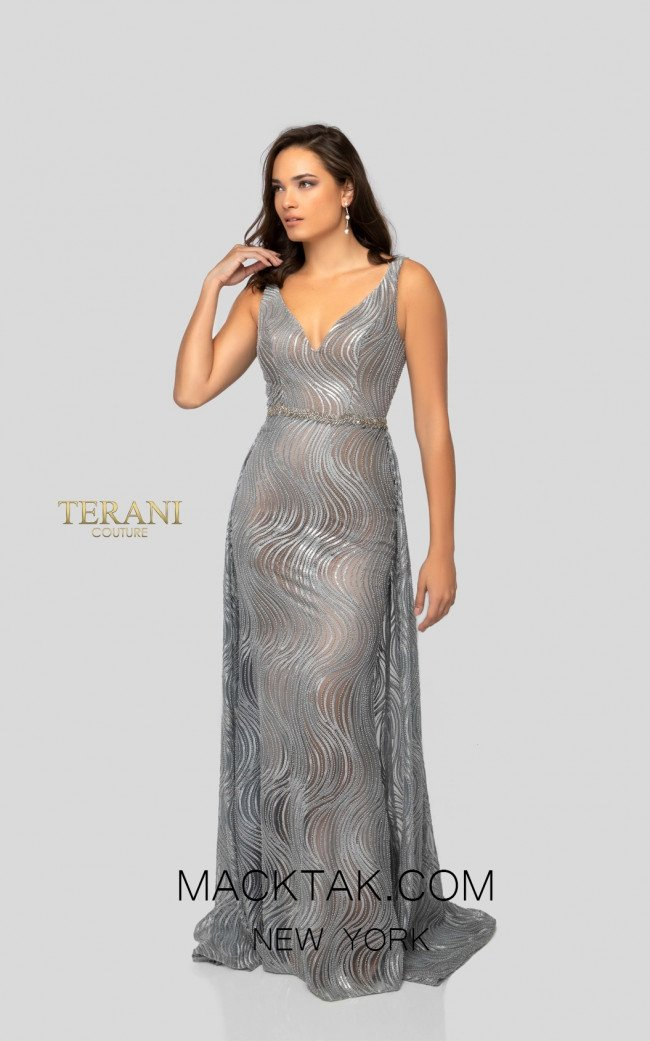 Terani 1911E9113 Silver Nude Front Evening Dress
