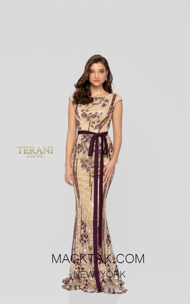 Terani 1911E9115 Beige Wine Front Evening Dress