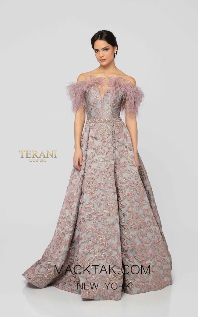 Terani 1911E9138 Rose Gray Front Evening Dress